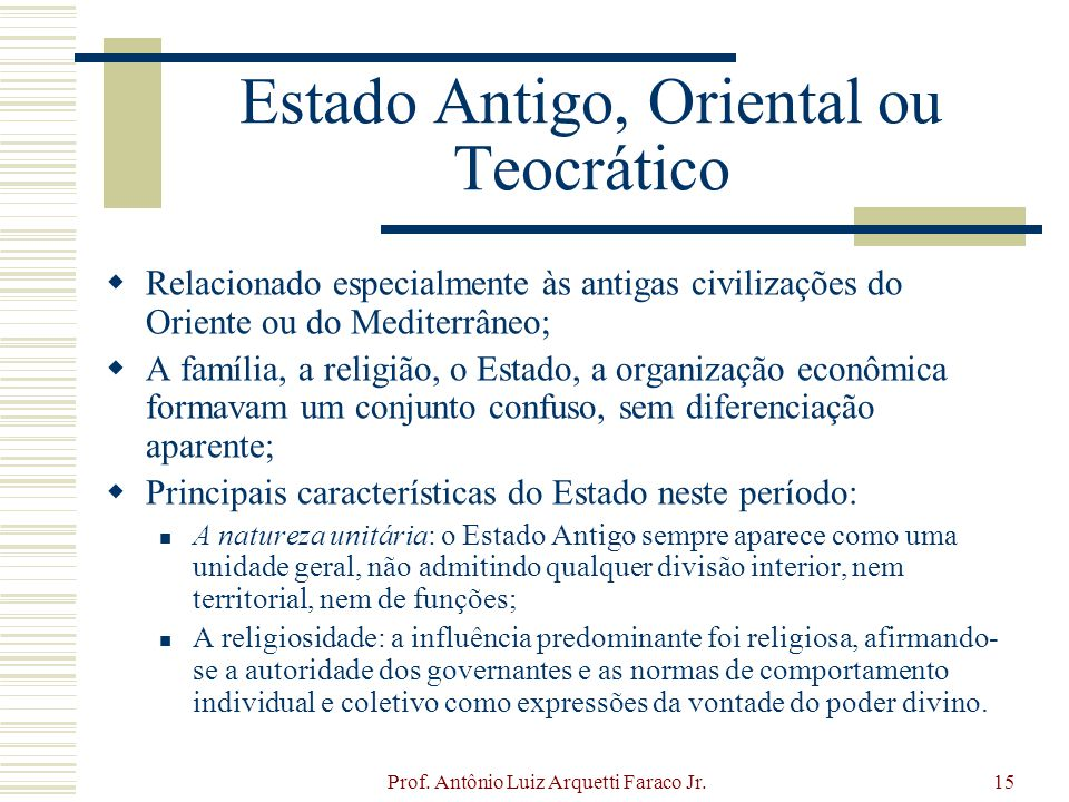 Estado Antigo, Oriental ou Teocrático