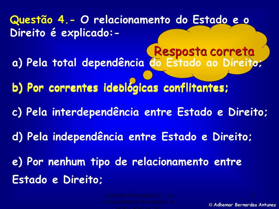 Questão 4.- O relacionamento do Estado e o Direito é explicado:-