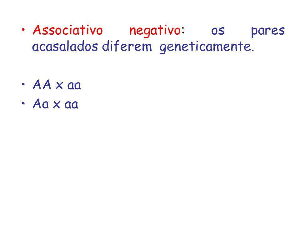 Associativo negativo: os pares acasalados diferem geneticamente.