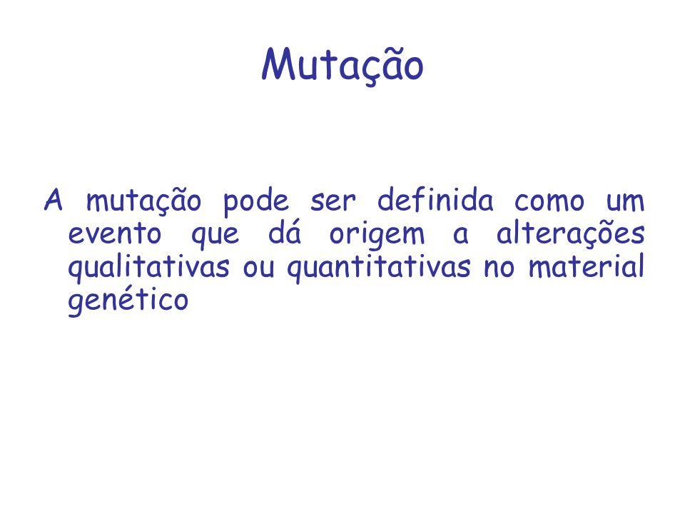 Mutação A mutação pode ser definida como um evento que dá origem a alterações qualitativas ou quantitativas no material genético.