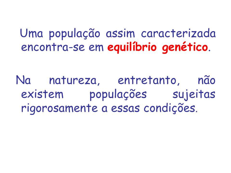 Uma população assim caracterizada encontra-se em equilíbrio genético.