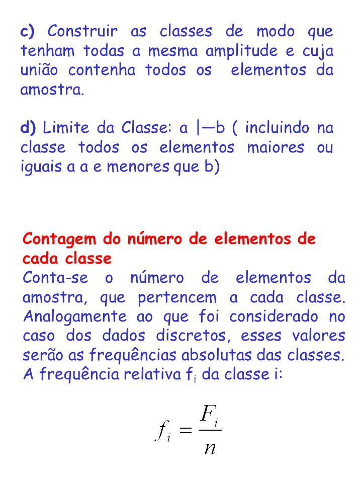 c) Construir as classes de modo que tenham todas a mesma amplitude e cuja união contenha todos os elementos da amostra.