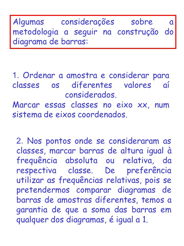 Algumas considerações sobre a metodologia a seguir na construção do diagrama de barras: