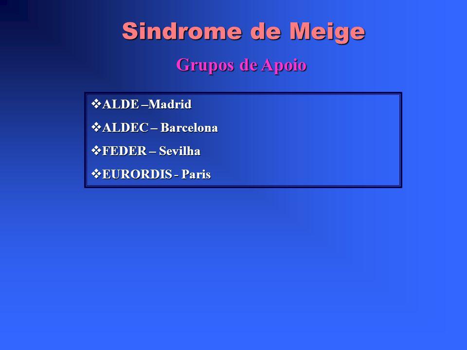 Sindrome de Meige Grupos de Apoio ALDE –Madrid ALDEC – Barcelona