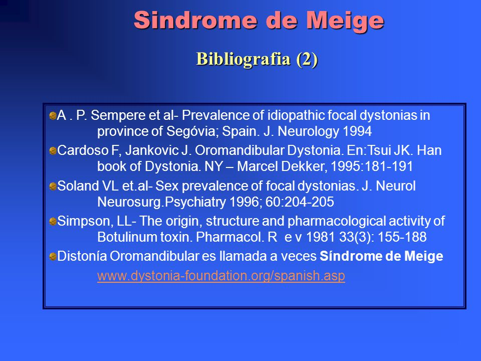 Sindrome de Meige Bibliografia (2)