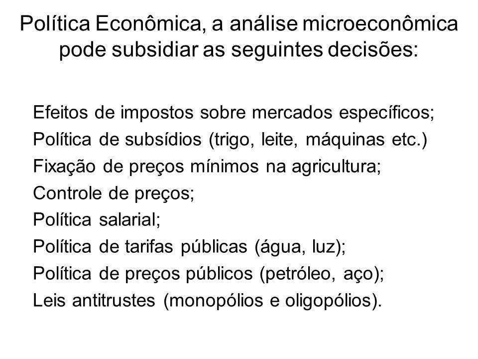 Política Econômica, a análise microeconômica pode subsidiar as seguintes decisões: