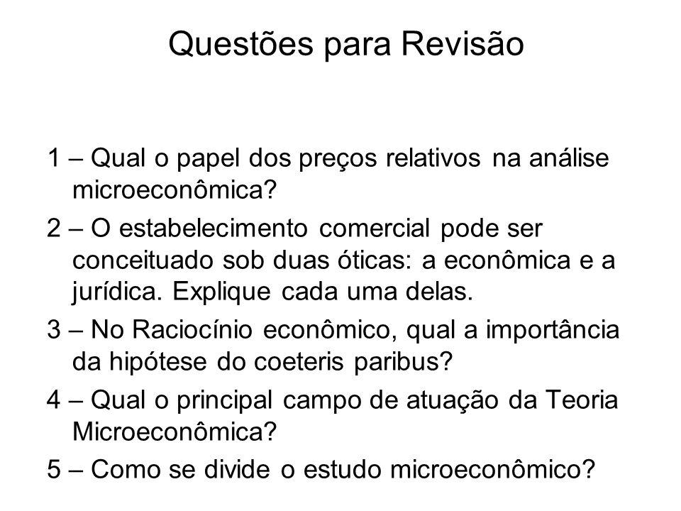 Questões para Revisão 1 – Qual o papel dos preços relativos na análise microeconômica
