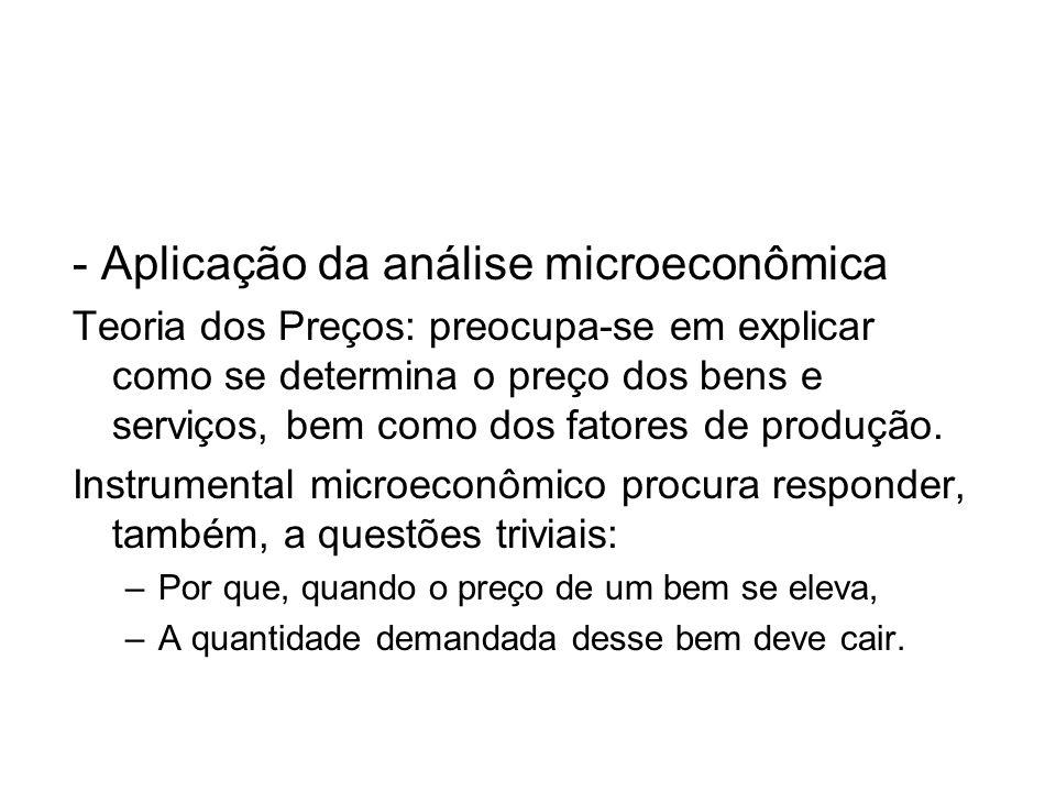 - Aplicação da análise microeconômica