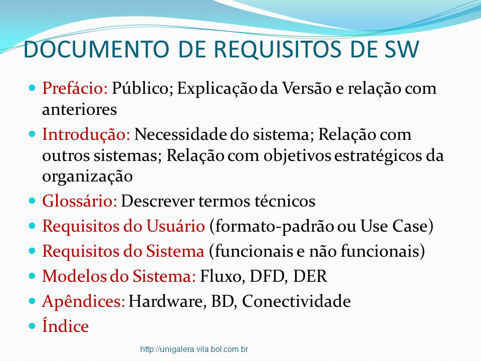 DOCUMENTO DE REQUISITOS DE SW