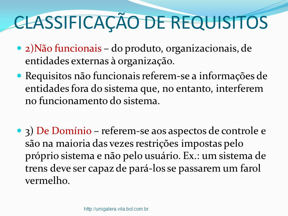 CLASSIFICAÇÃO DE REQUISITOS