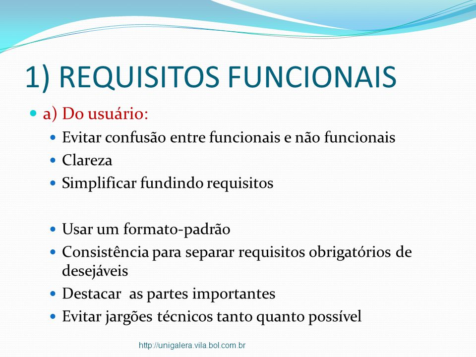 1) REQUISITOS FUNCIONAIS