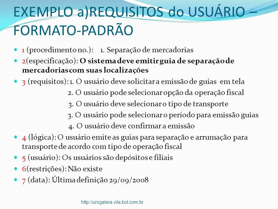 EXEMPLO a)REQUISITOS do USUÁRIO – FORMATO-PADRÃO