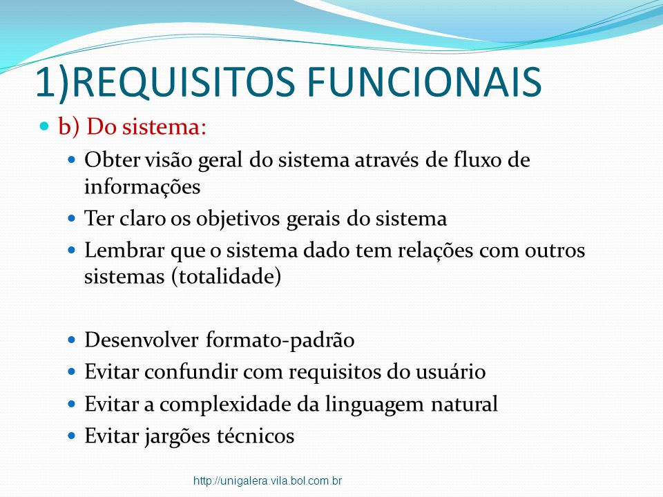 1)REQUISITOS FUNCIONAIS