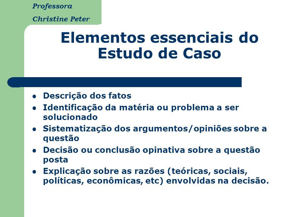 Elementos essenciais do Estudo de Caso