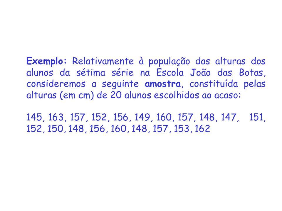 Exemplo: Relativamente à população das alturas dos alunos da sétima série na Escola João das Botas, consideremos a seguinte amostra, constituída pelas alturas (em cm) de 20 alunos escolhidos ao acaso: