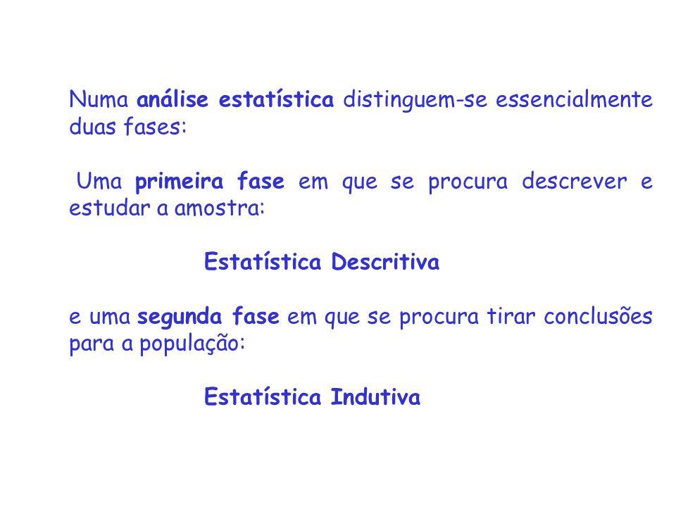 Numa análise estatística distinguem-se essencialmente duas fases: