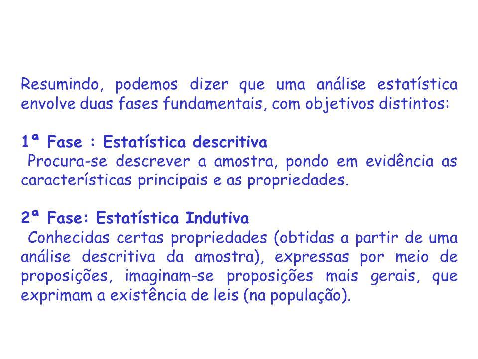 Resumindo, podemos dizer que uma análise estatística envolve duas fases fundamentais, com objetivos distintos: