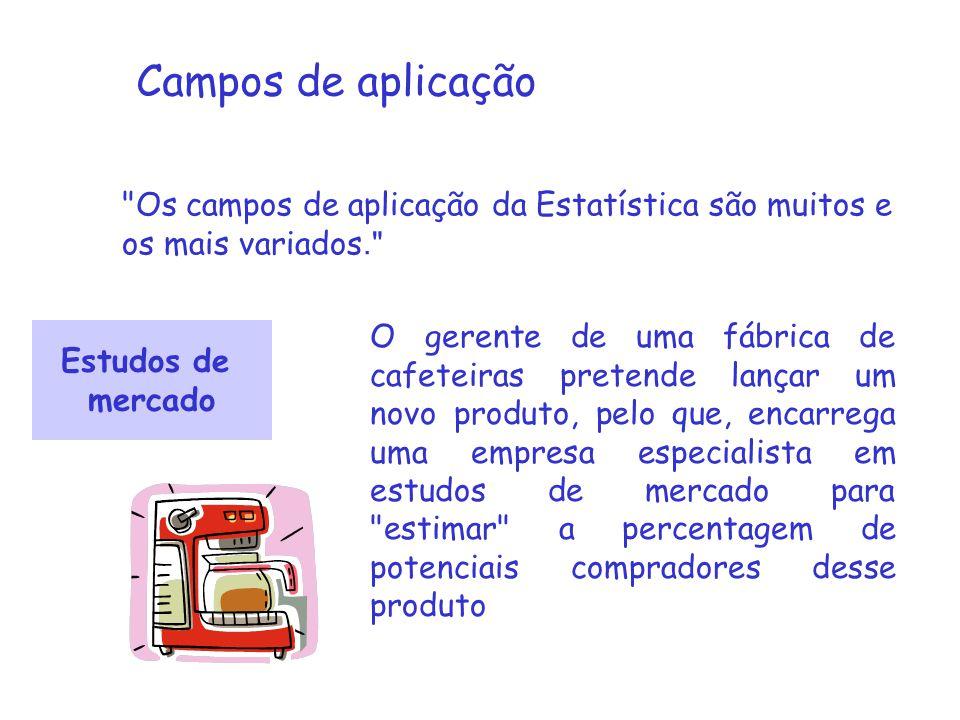 Campos de aplicação Os campos de aplicação da Estatística são muitos e os mais variados.