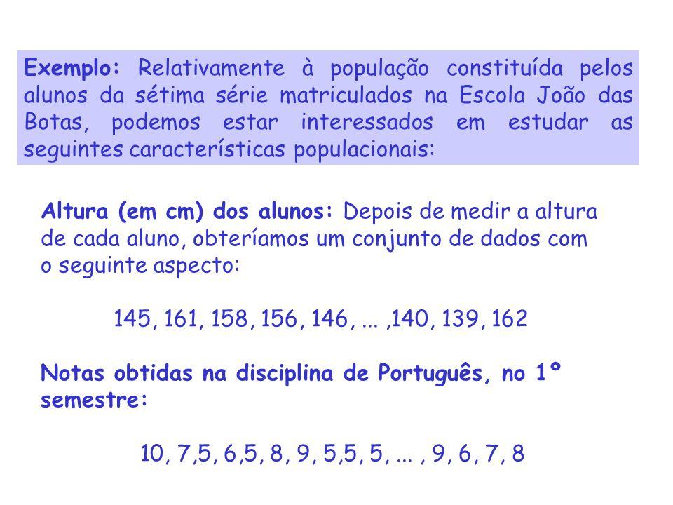 Exemplo: Relativamente à população constituída pelos alunos da sétima série matriculados na Escola João das Botas, podemos estar interessados em estudar as seguintes características populacionais: