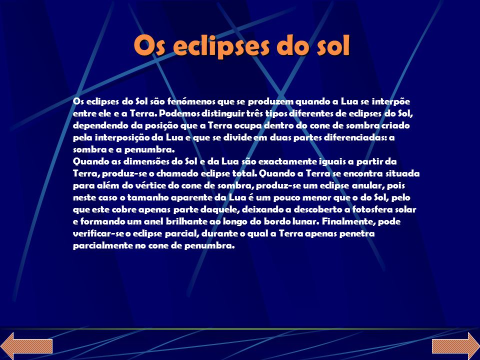 Os eclipses do sol