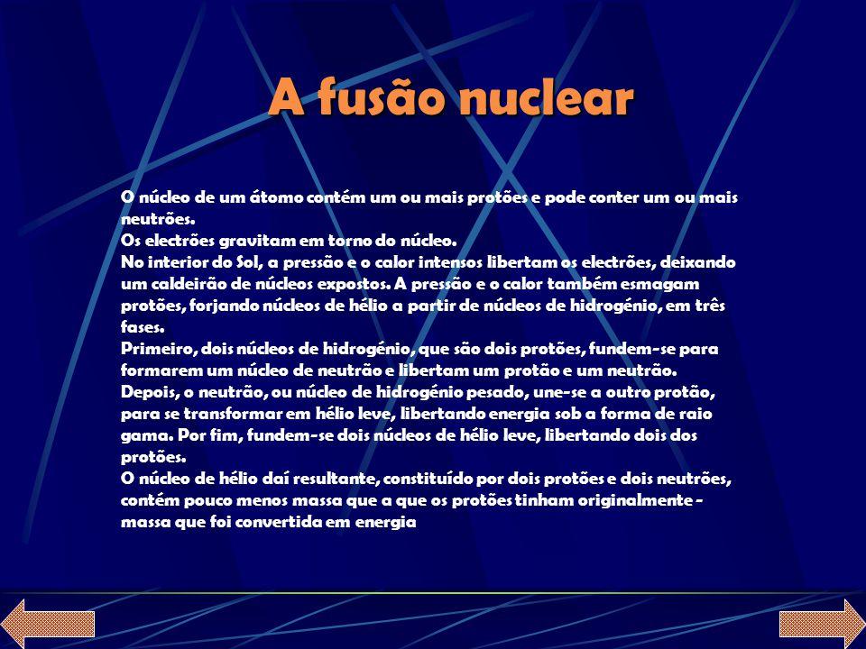 A fusão nuclear O núcleo de um átomo contém um ou mais protões e pode conter um ou mais neutrões. Os electrões gravitam em torno do núcleo.