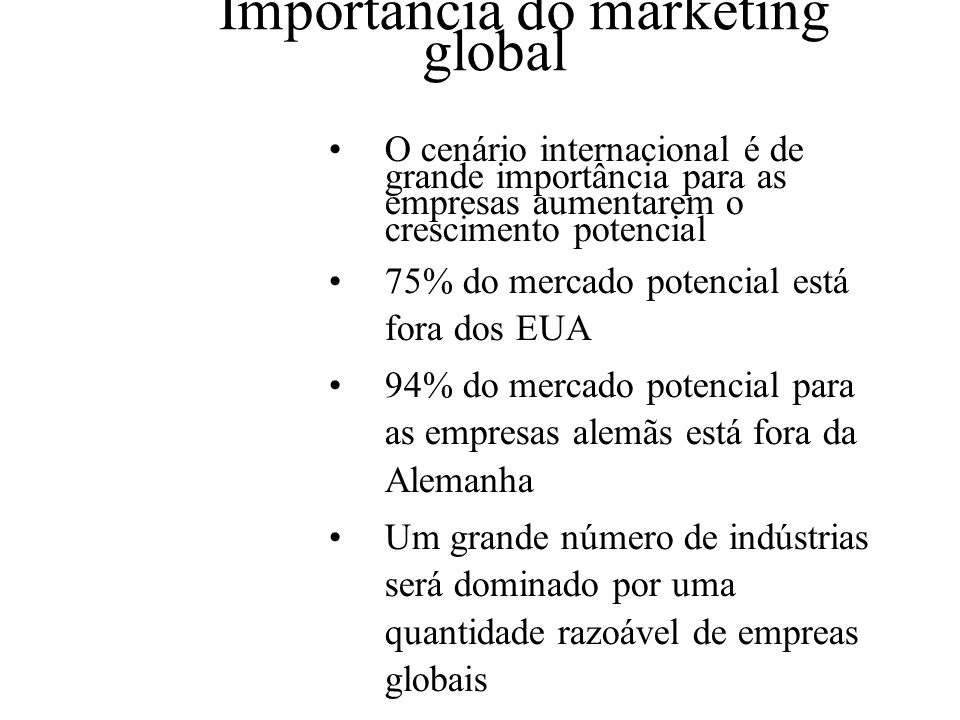 Importância do marketing global