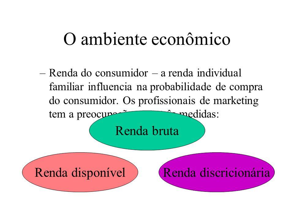 O ambiente econômico Renda bruta Renda disponível Renda discricionária