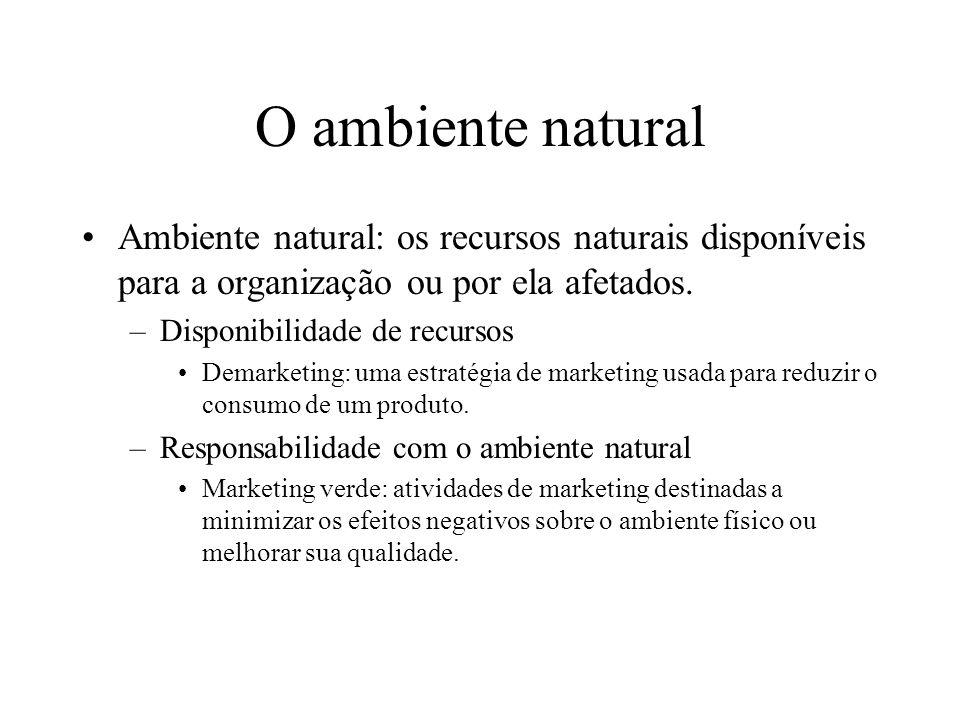 O ambiente natural Ambiente natural: os recursos naturais disponíveis para a organização ou por ela afetados.