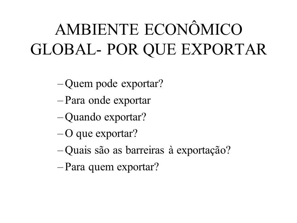 AMBIENTE ECONÔMICO GLOBAL- POR QUE EXPORTAR