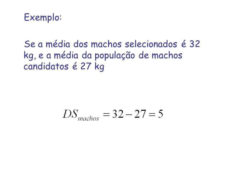 Exemplo: Se a média dos machos selecionados é 32 kg, e a média da população de machos candidatos é 27 kg.