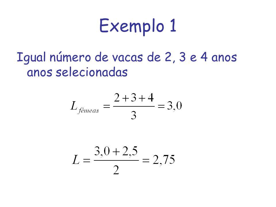 Exemplo 1 Igual número de vacas de 2, 3 e 4 anos anos selecionadas