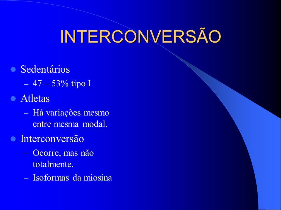 INTERCONVERSÃO Sedentários Atletas Interconversão 47 – 53% tipo I