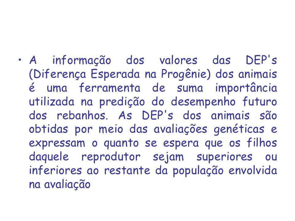 A informação dos valores das DEP s (Diferença Esperada na Progênie) dos animais é uma ferramenta de suma importância utilizada na predição do desempenho futuro dos rebanhos.