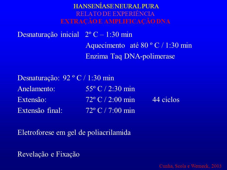 Desnaturação inicial 2º C – 1:30 min Aquecimento até 80 º C / 1:30 min