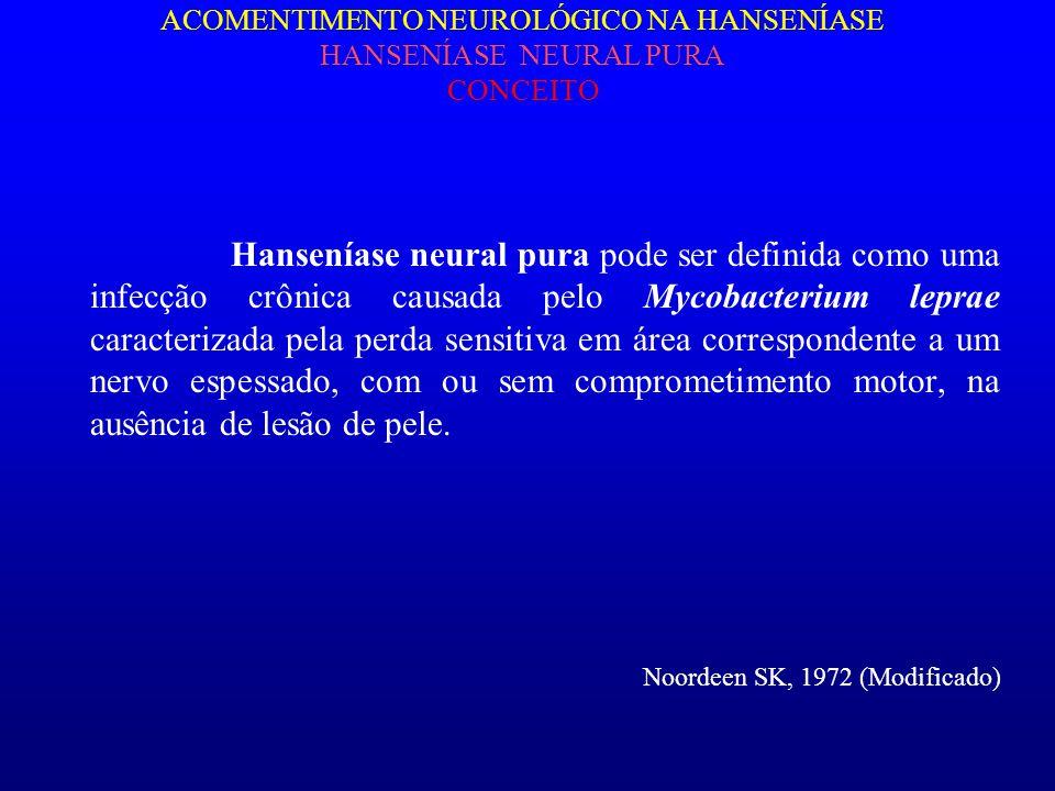 ACOMENTIMENTO NEUROLÓGICO NA HANSENÍASE HANSENÍASE NEURAL PURA CONCEITO