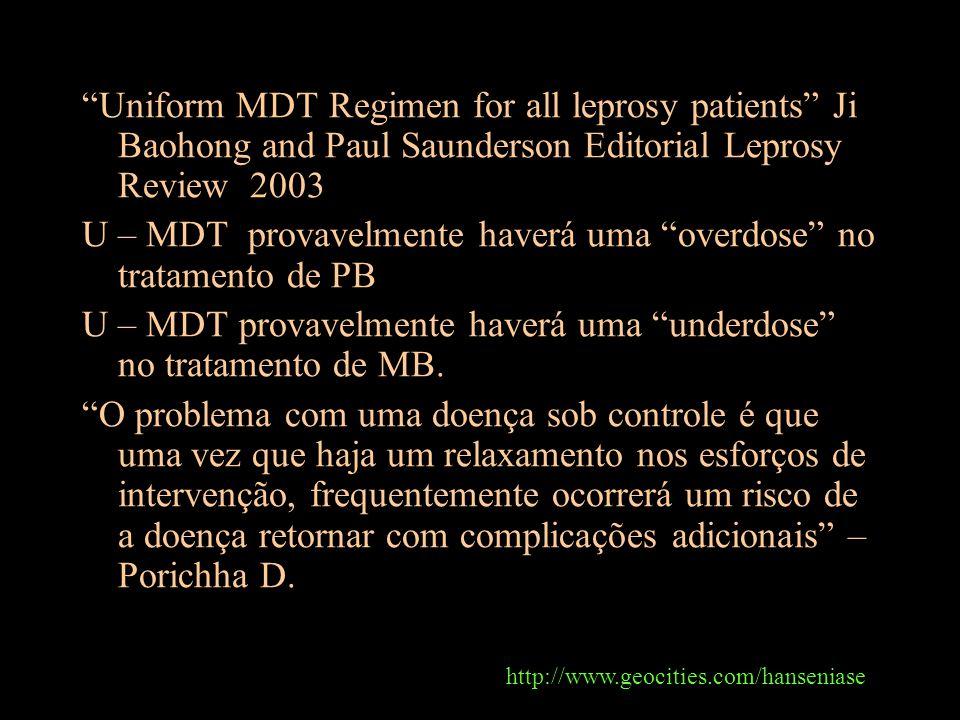 U – MDT provavelmente haverá uma overdose no tratamento de PB