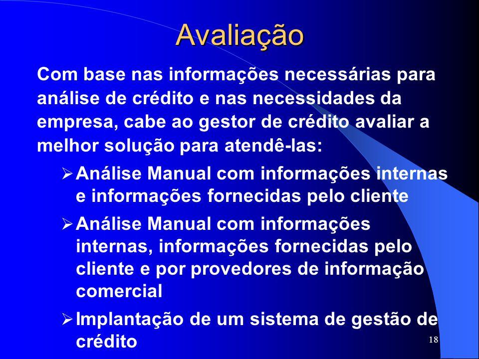 Avaliação Com base nas informações necessárias para