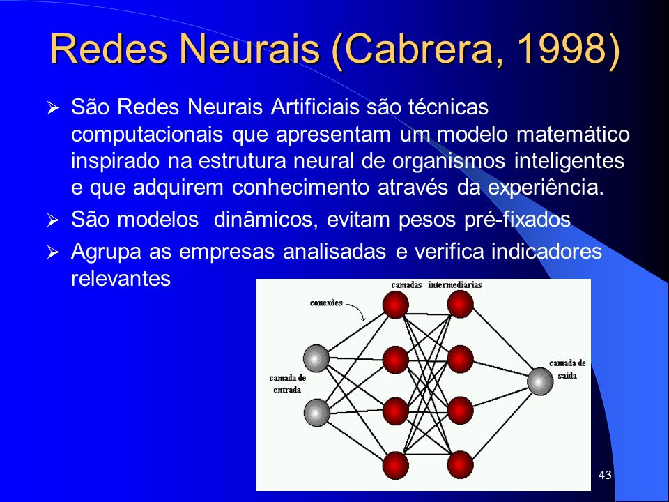 Redes Neurais (Cabrera, 1998)