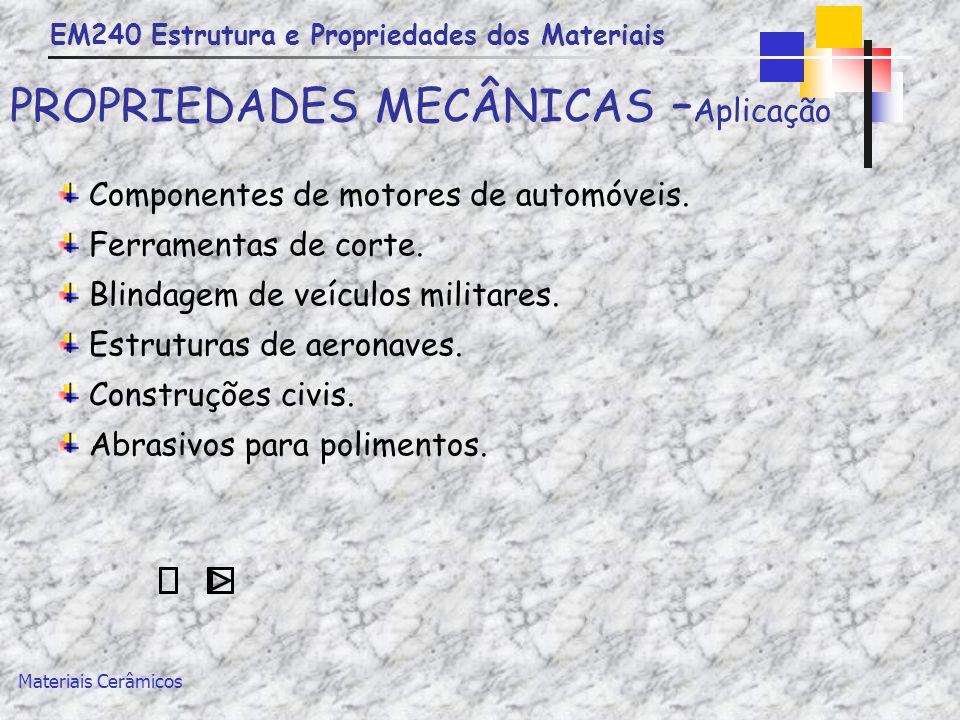 PROPRIEDADES MECÂNICAS –Aplicação