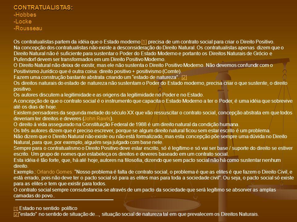CONTRATUALISTAS: -Hobbes -Locke Rousseau