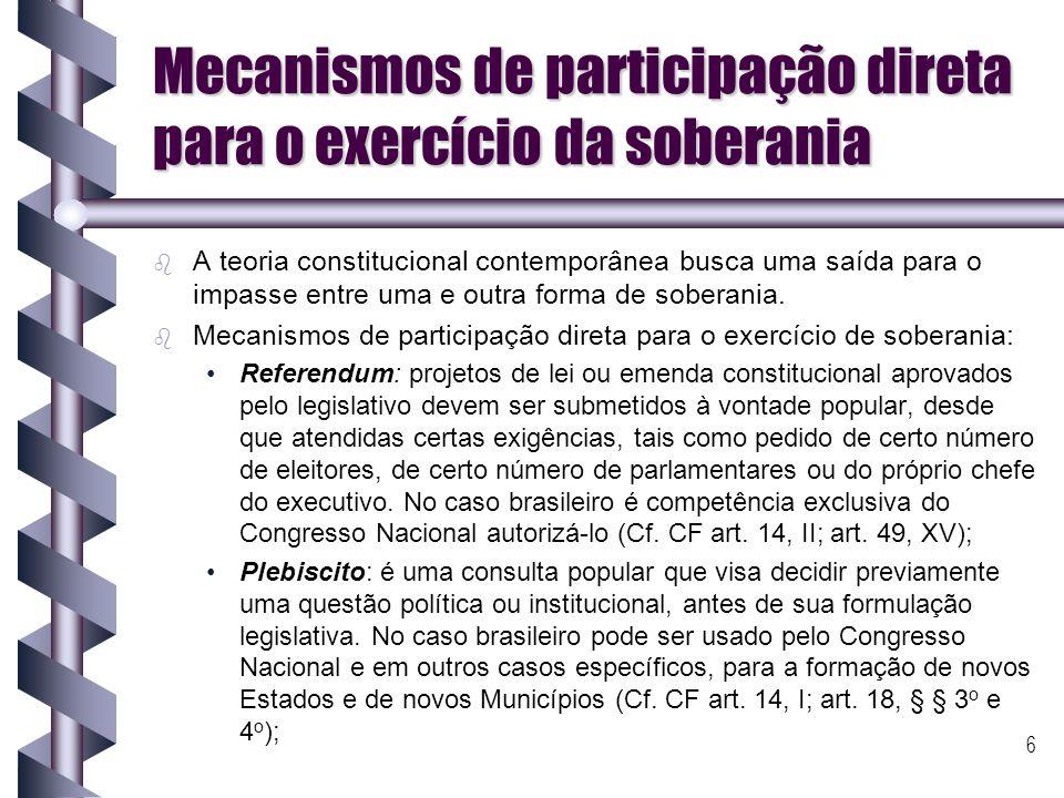 Mecanismos de participação direta para o exercício da soberania