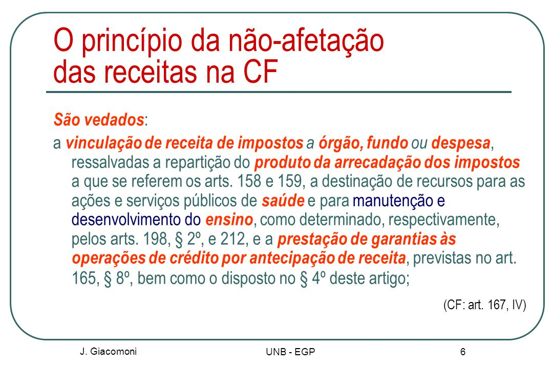 O princípio da não-afetação das receitas na CF