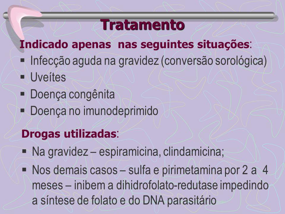 Tratamento Infecção aguda na gravidez (conversão sorológica) Uveítes