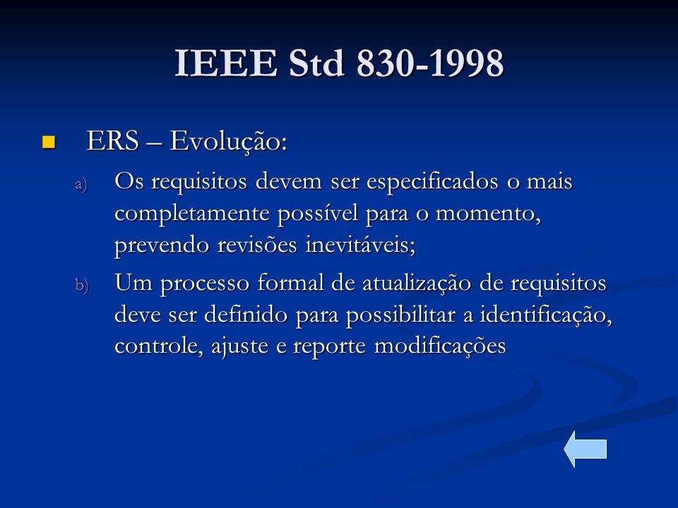 IEEE Std 830-1998 ERS – Evolução: