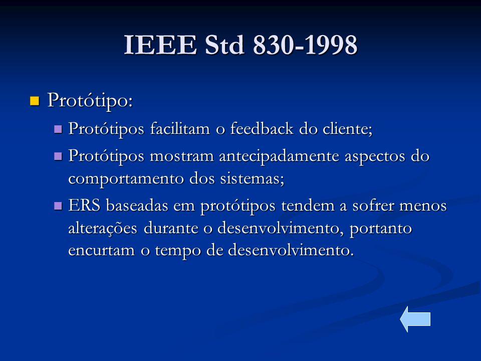 IEEE Std 830-1998 Protótipo: Protótipos facilitam o feedback do cliente; Protótipos mostram antecipadamente aspectos do comportamento dos sistemas;