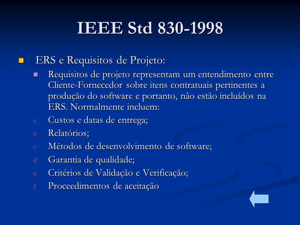 IEEE Std 830-1998 ERS e Requisitos de Projeto: