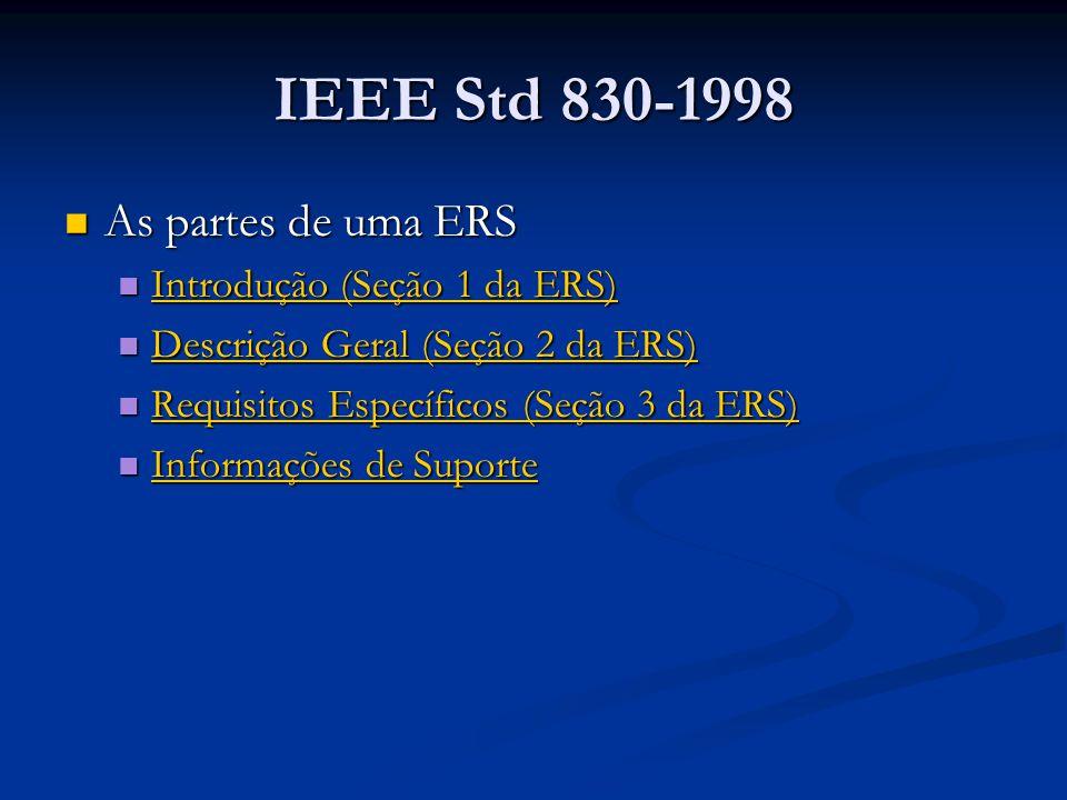 IEEE Std 830-1998 As partes de uma ERS Introdução (Seção 1 da ERS)