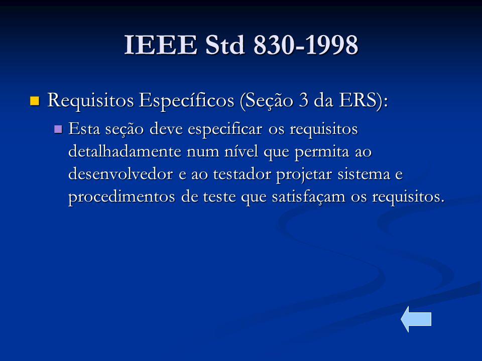 IEEE Std 830-1998 Requisitos Específicos (Seção 3 da ERS):