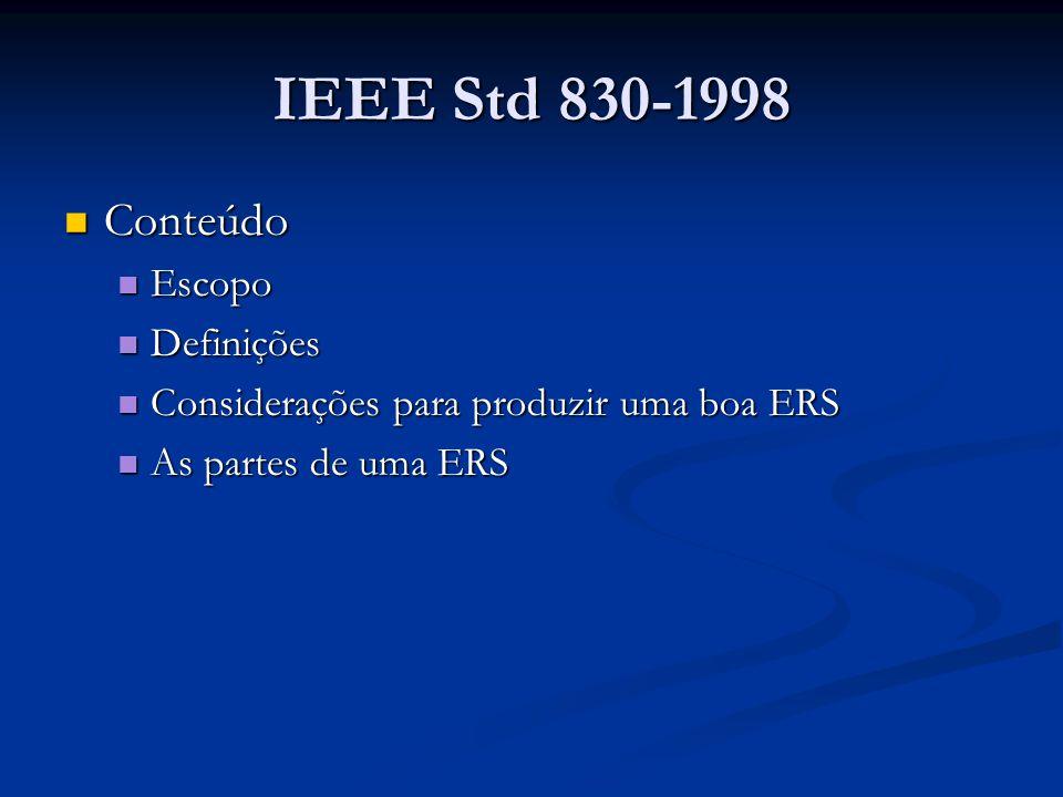 IEEE Std 830-1998 Conteúdo Escopo Definições