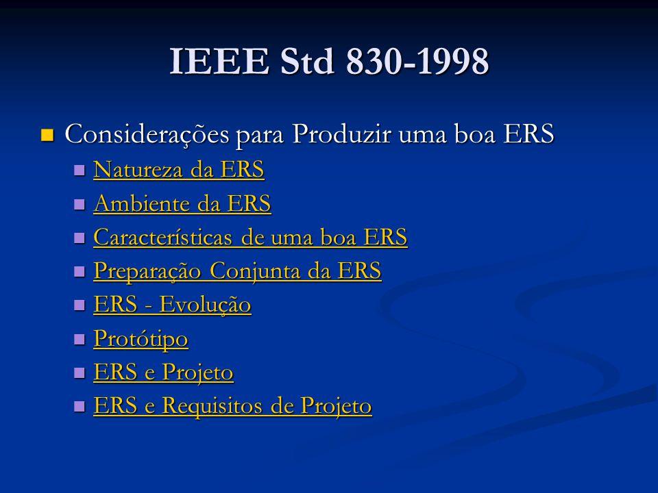 IEEE Std 830-1998 Considerações para Produzir uma boa ERS